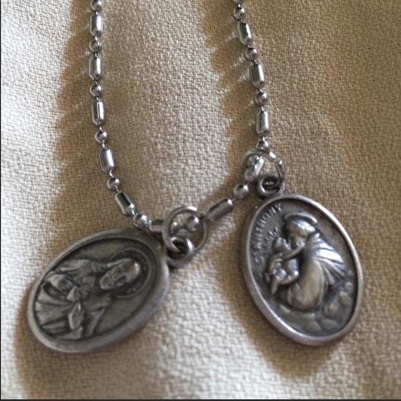 Vintage Catholic saints charms & dog tag chain